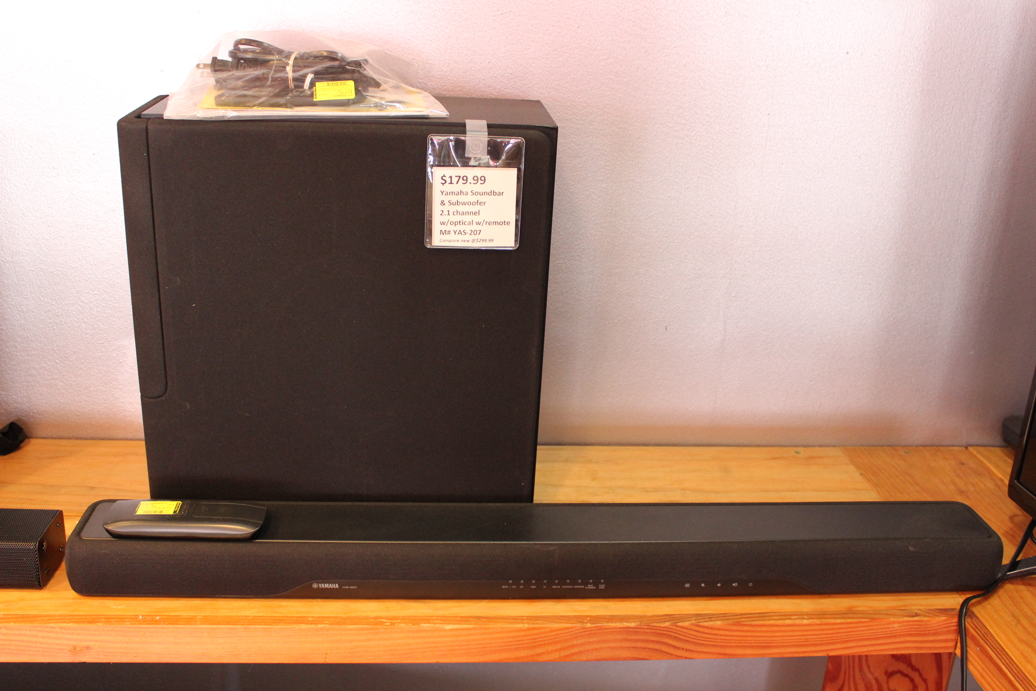 yamaha yas 207 soundbar subwoofer set used ted 39 s. Black Bedroom Furniture Sets. Home Design Ideas